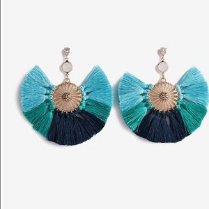 Stone Embellished Tassel Earrings - Aqua Blue